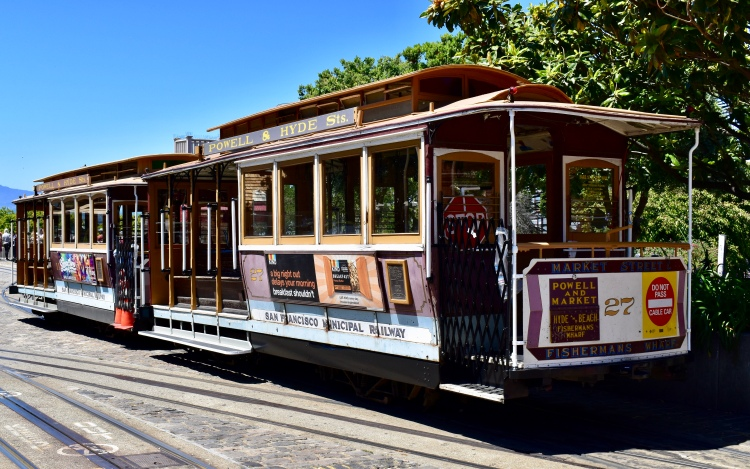 An historic Powell & Hyde Trolley at Fisherman's Wharf in San Fransisco California