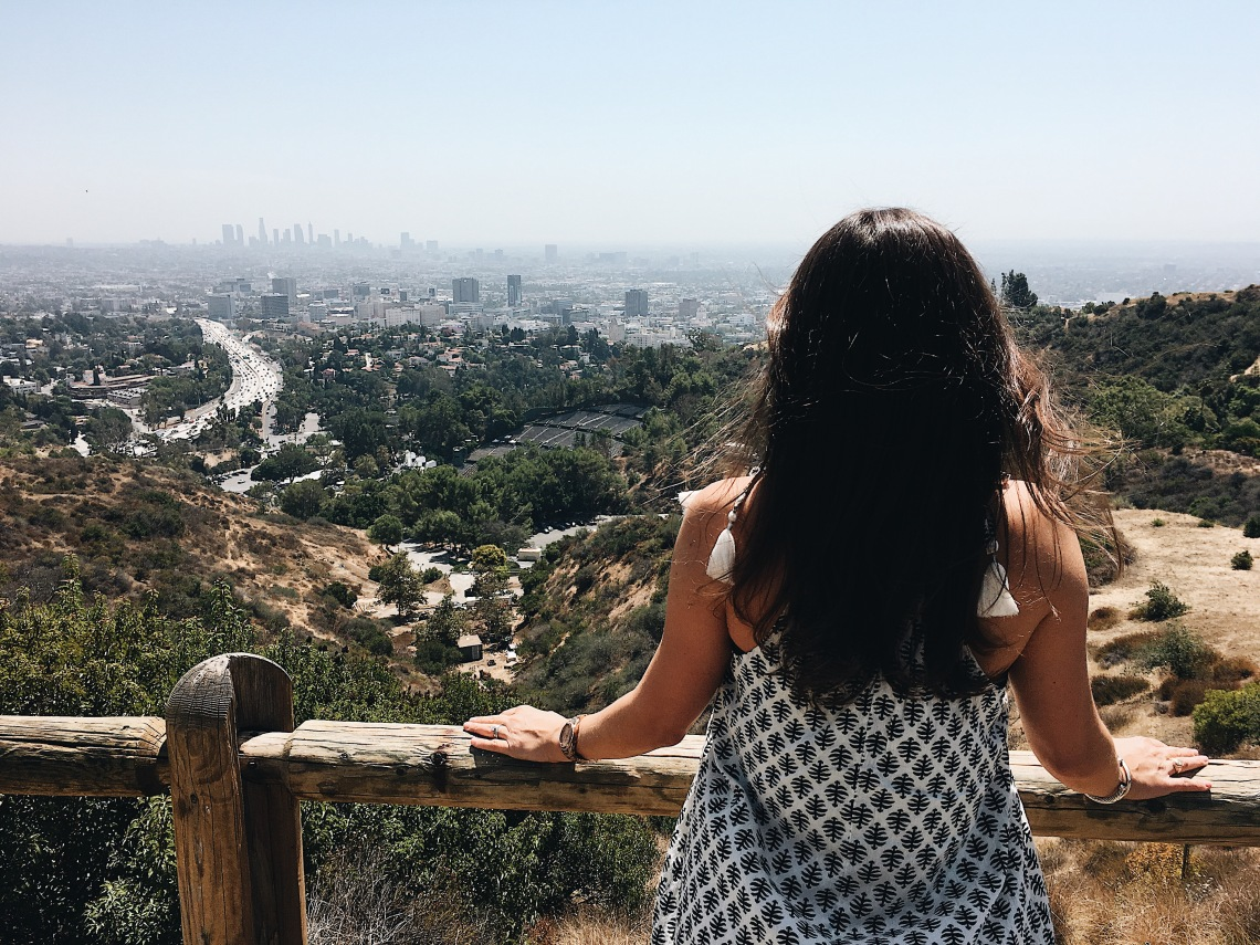 Erin from Cathedrals and Cafes blog gazes over Los Angeles at the Mulholland Drive scenic overlook