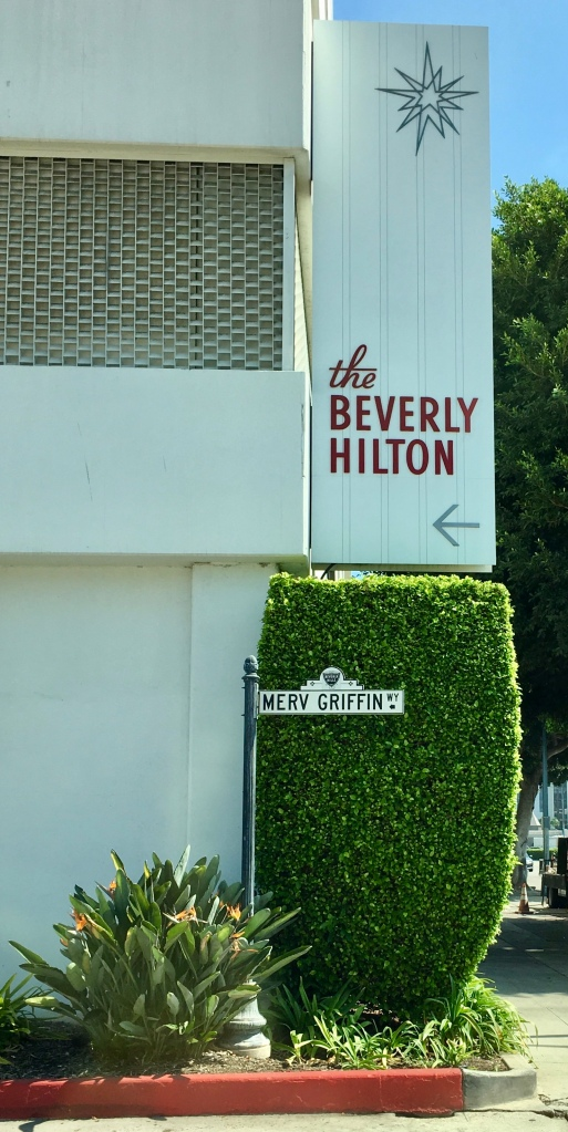 Merv Griffin Way outside of the Beverly Hilton Hotel in Los Angeles California