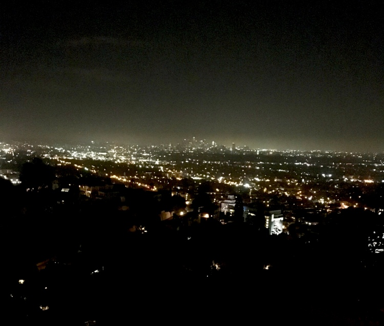 A view of downtown Los Angeles at night from a home in the Hollywood Hills