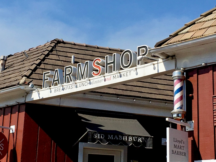 The sign to FarmShop above the entrance to Brentwood Country Mart