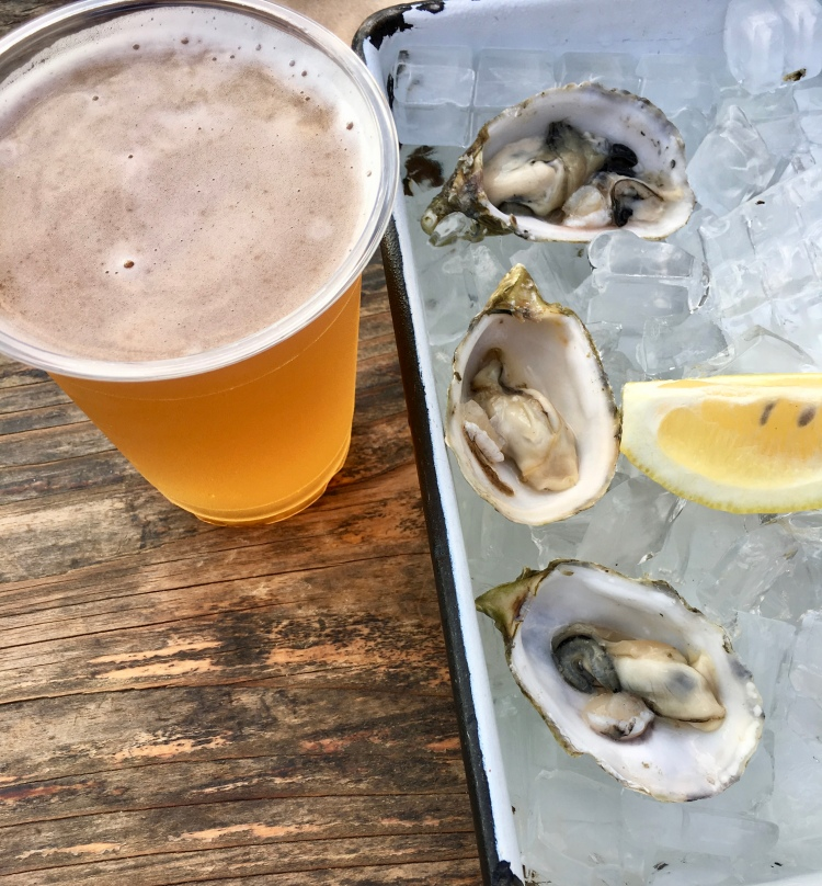 Oysters on the half shell with beer at The Albright, Santa Monica Pier