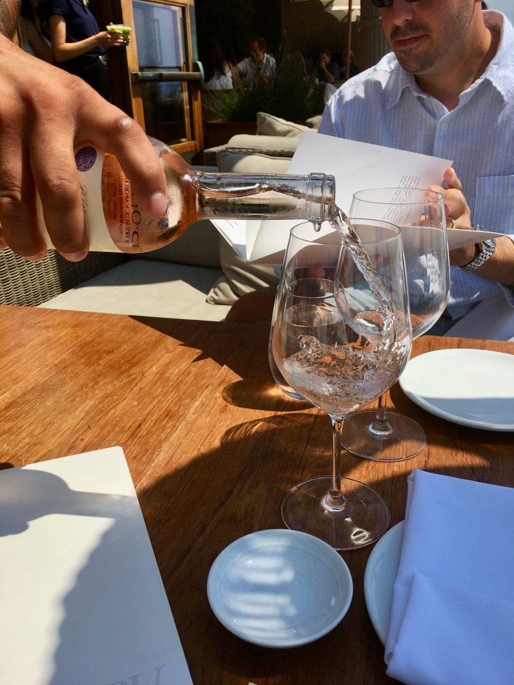 Pouring rosé wine, Nobu Restaurant, Malibu, California
