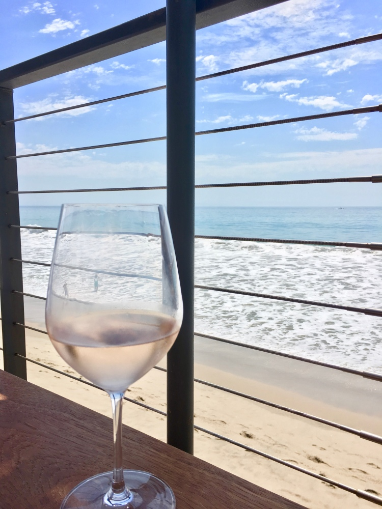 Glass of rosé, pacific ocean, beach, Nobu restaurant, Malibu, California