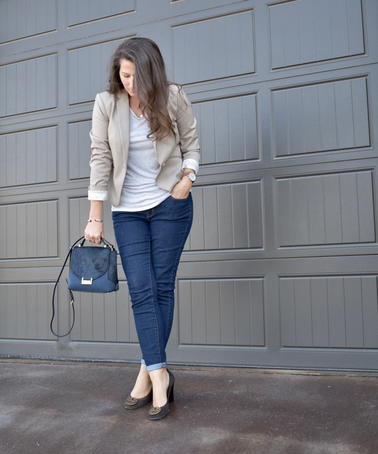 Office Style: Business Casual Meets Chic | blazer, denim, wedges, structured crossbody bag, tory burch, kate spade, H&M