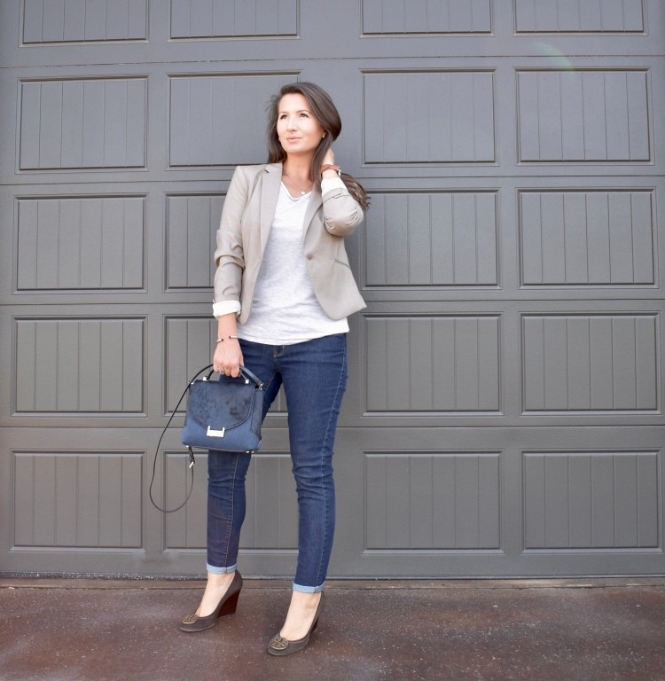 Business Casual Meets Chic | workwear, office style, jeans, blazer, wedges, tory burch, kate spade