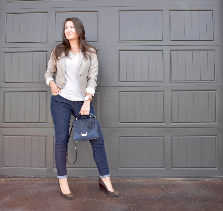 Cathedrals and Cafes Blog: workwear, business casual, office chic, office style, blazer, denim, wedges
