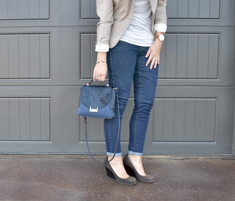 workwear chic, business casual, office style, denim, blazer, structured bag, wedges