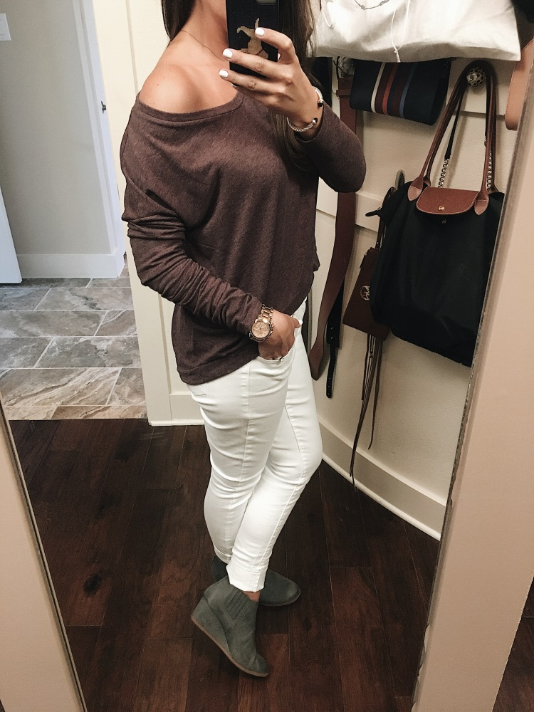 OOTD, #ootd, Casual fall style, off shoulder top, white jeans, booties