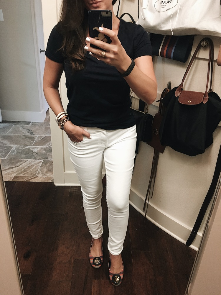 OOTD, #ootd, Casual Style, white jeans, tory burch flats