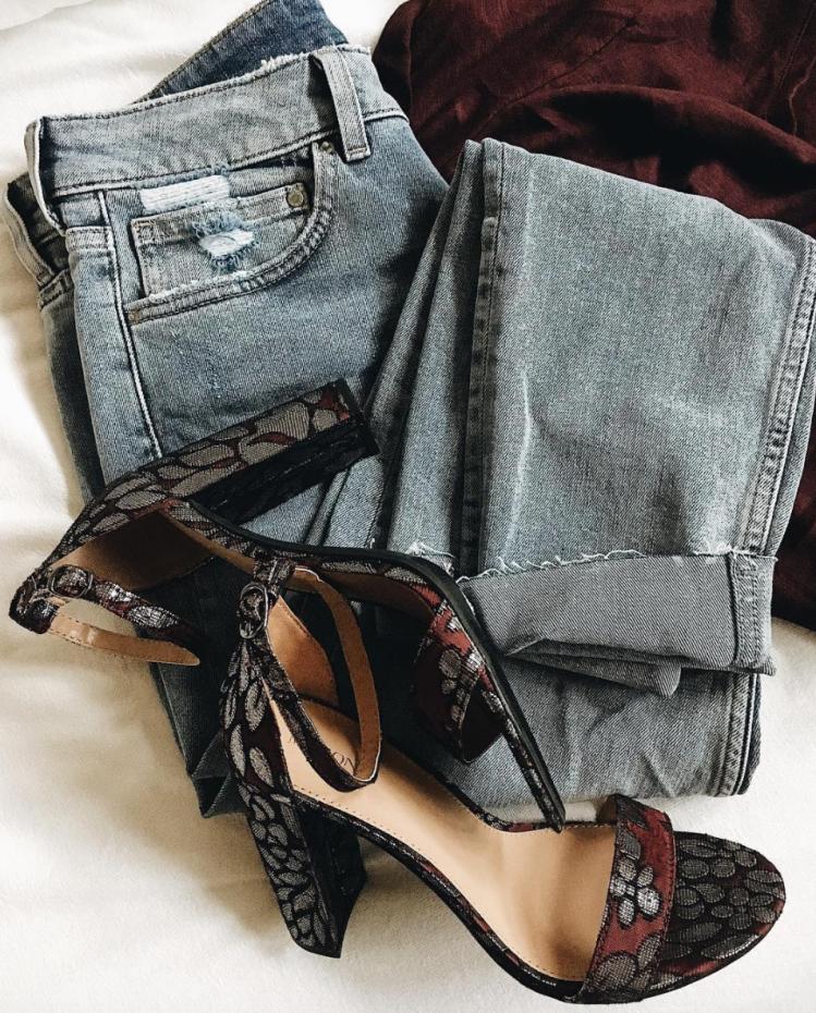 Brocade strappy heels