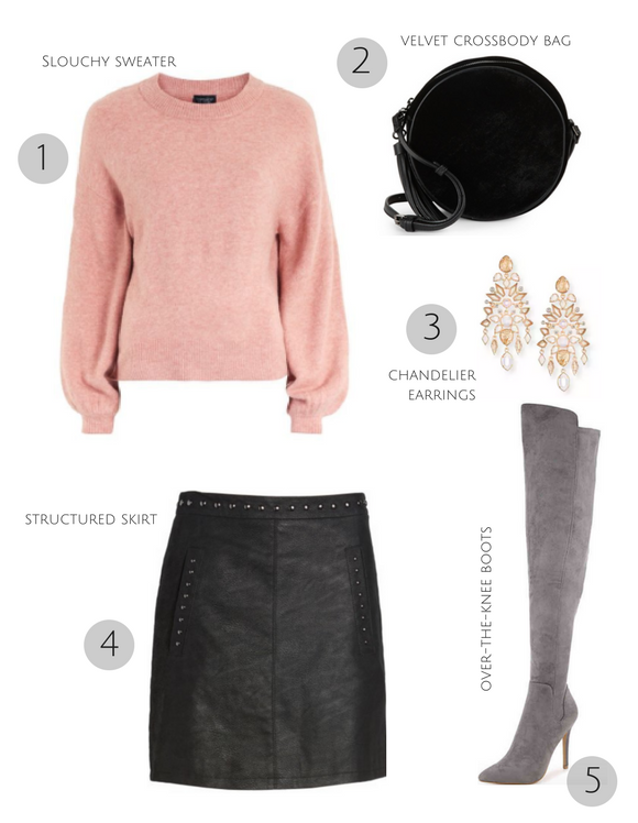 3 Easy Holiday Party Looks _ Cathedrals and Cafes Blog _ Slouchy sweater + Skirt + Boots _ Winter Style _ Women's Clothing _ Fashion _ Fashion Blogger _ Blog
