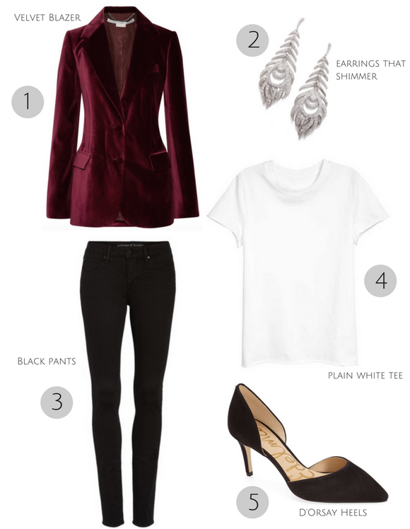 3 Easy Holiday Party Looks _ Cathedrals and Cafes Blog _ Tee + Black Pants + Blazer _ Winter Style _ Women's Clothing _ Fashion _ Fashion Blogger _ Blog