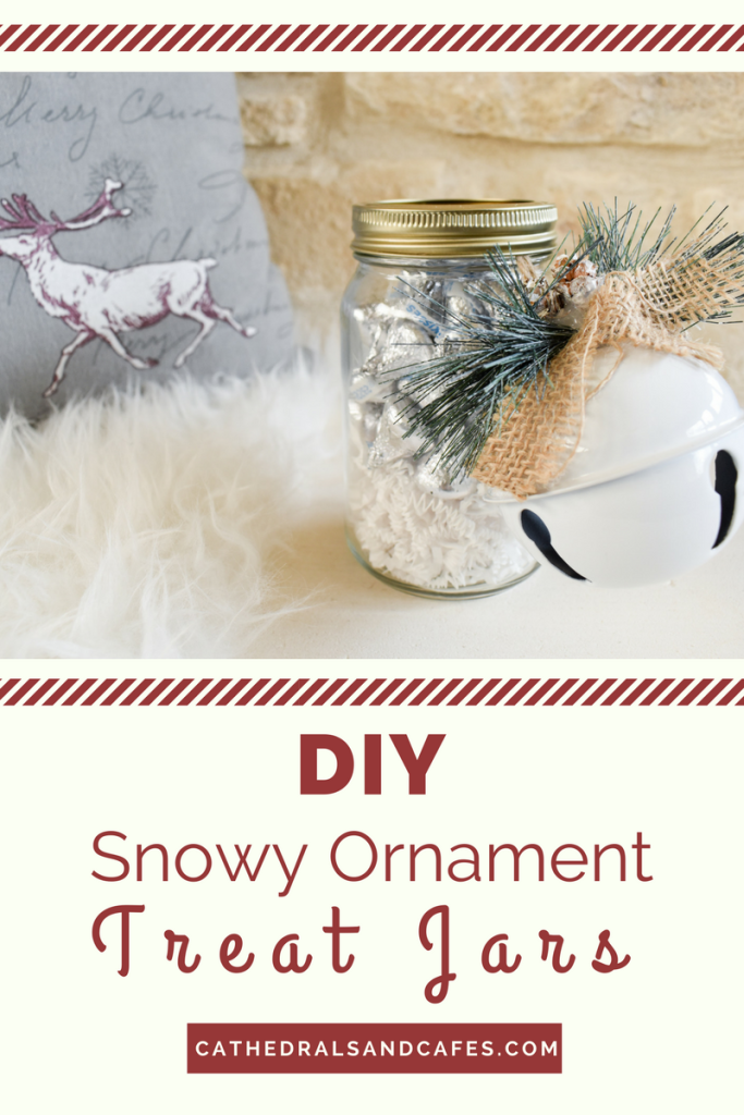 DIY Snowy Ornament Treat Jars | Cathedrals and Cafes Blog